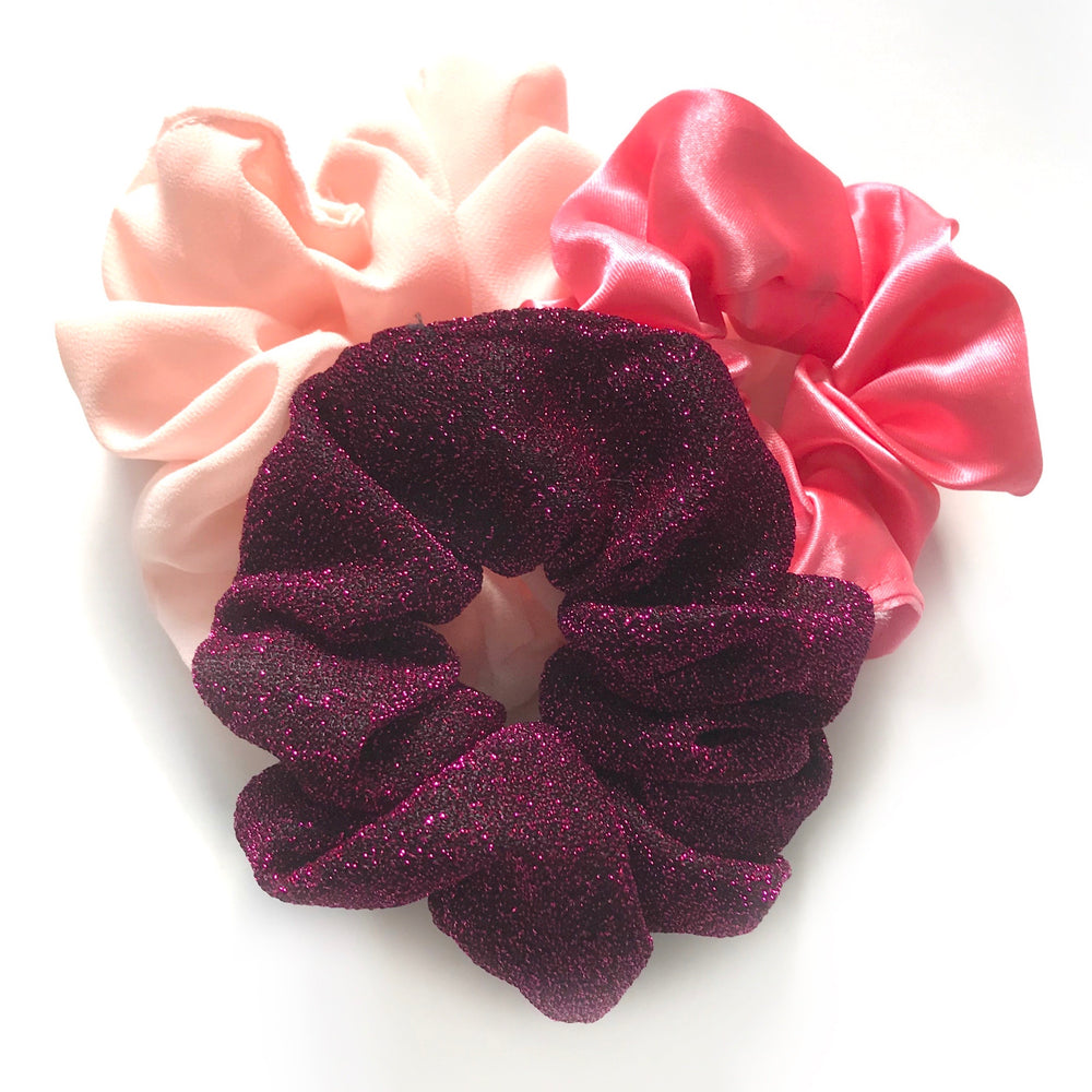 Glitter Pink - Scrunchie 3 Pack