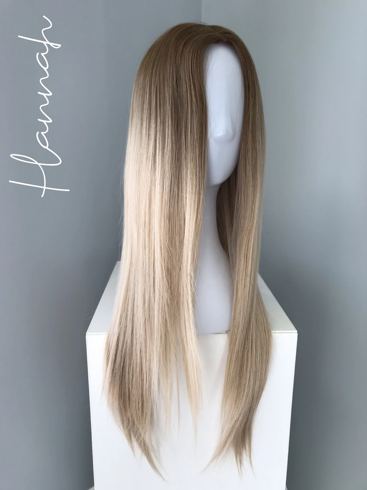 """Hannah"" - Long Blonde Ombre Straight Synthetic Wig"
