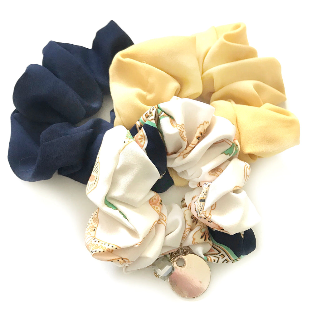 Blue Yellow Jewelled - Scrunchie 3 Pack