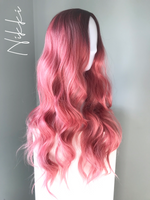 """Nikki"" - Long Rooted Pink Body Wave Synthetic Wig"