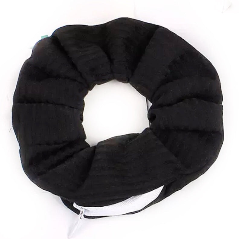Black Striped Cotton - Secret Zipper Scrunchie