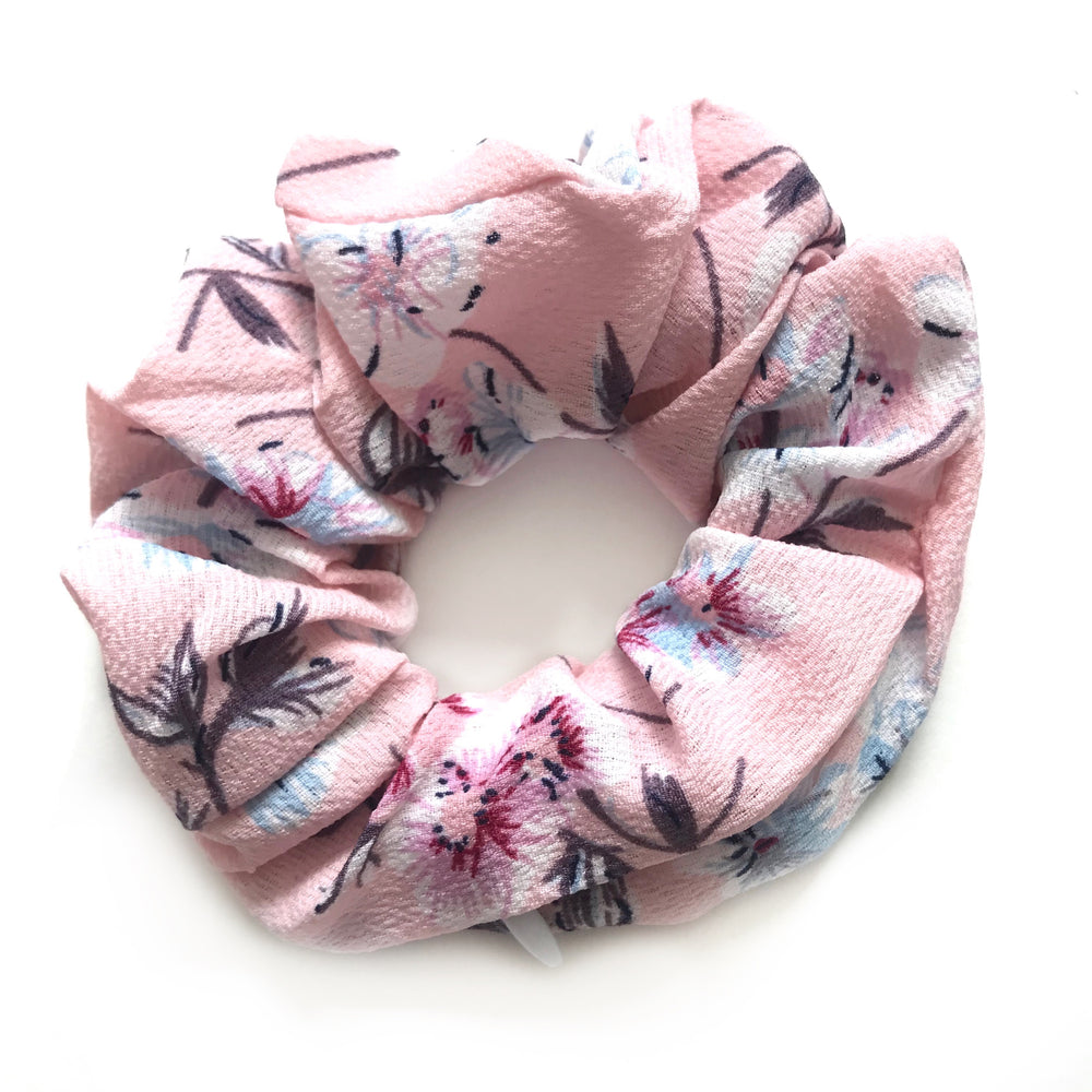 Pink Floral - Secret Zipper Scrunchie