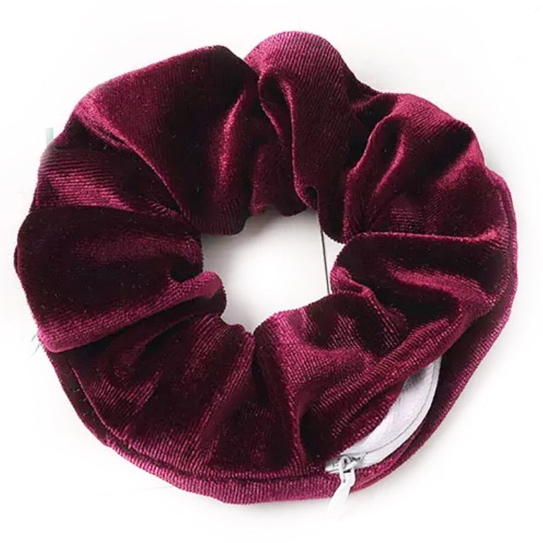 Burgundy Red Velvet - Secret Zipper Scrunchie