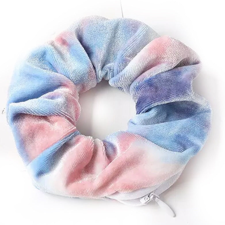 Pink/Blue Tie Dye Velvet - Secret Zipper Scrunchie