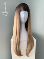 """Anna"" - Rooted Blonde Synthetic Wig with Bangs"