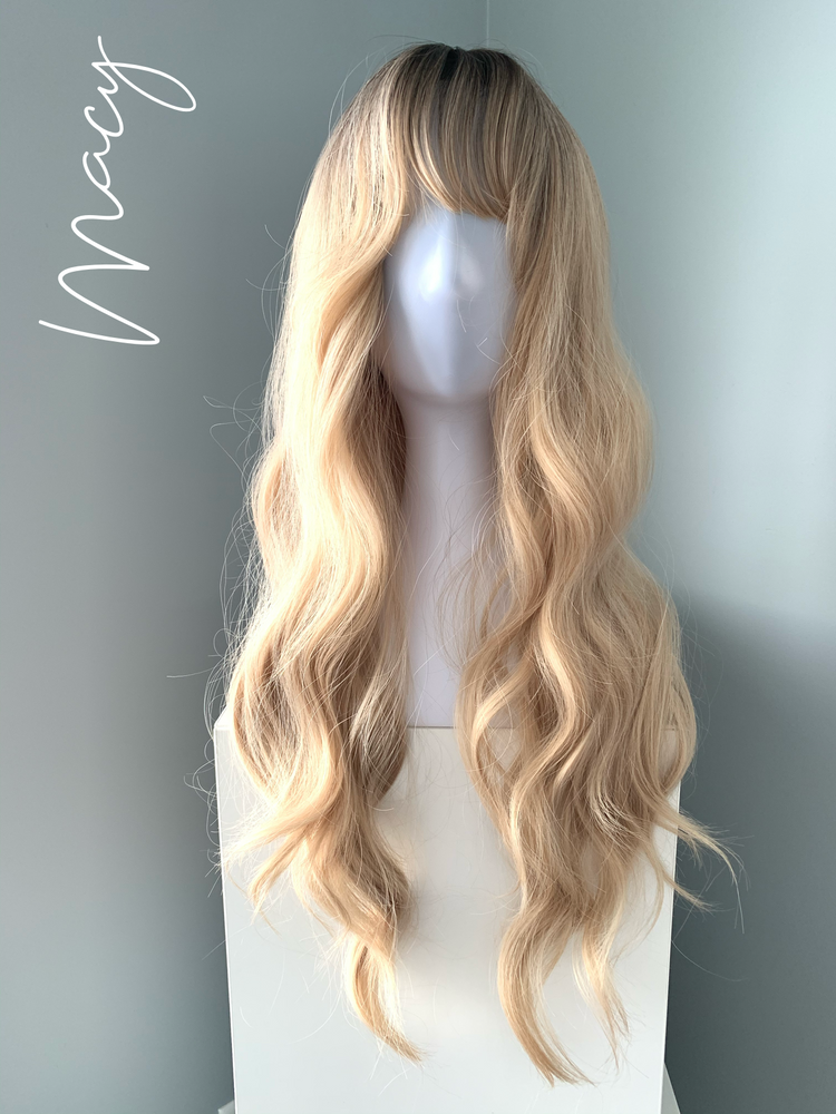 """Macy"" - Rooted Blonde Synthetic Wig with Bangs"