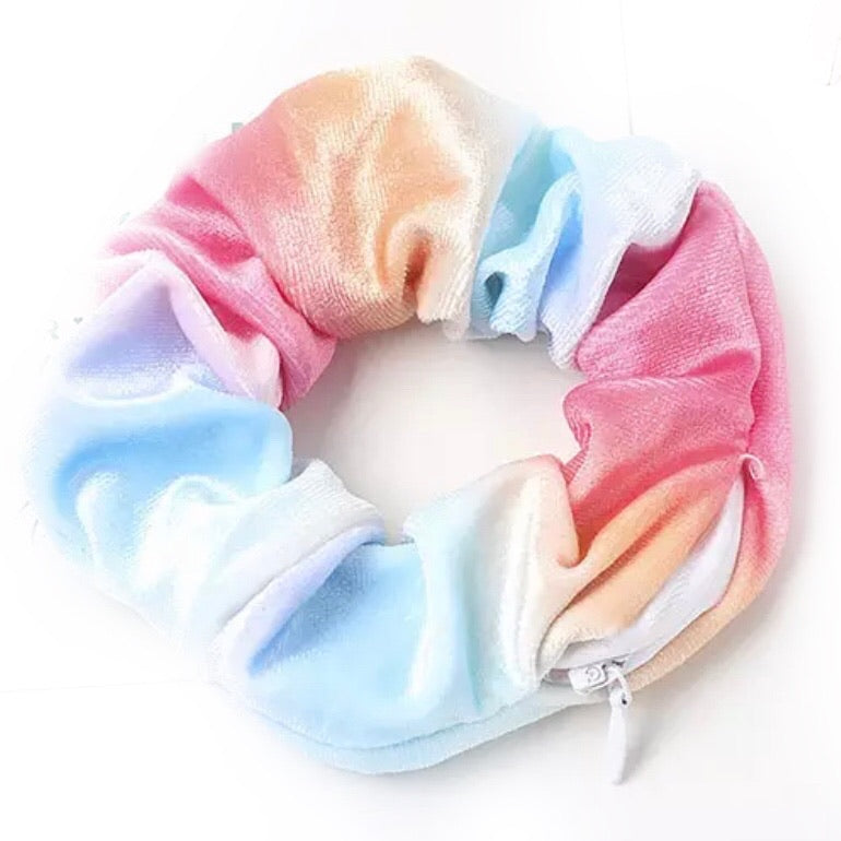 Rainbow Tie Dye Velvet - Secret Zipper Scrunchie
