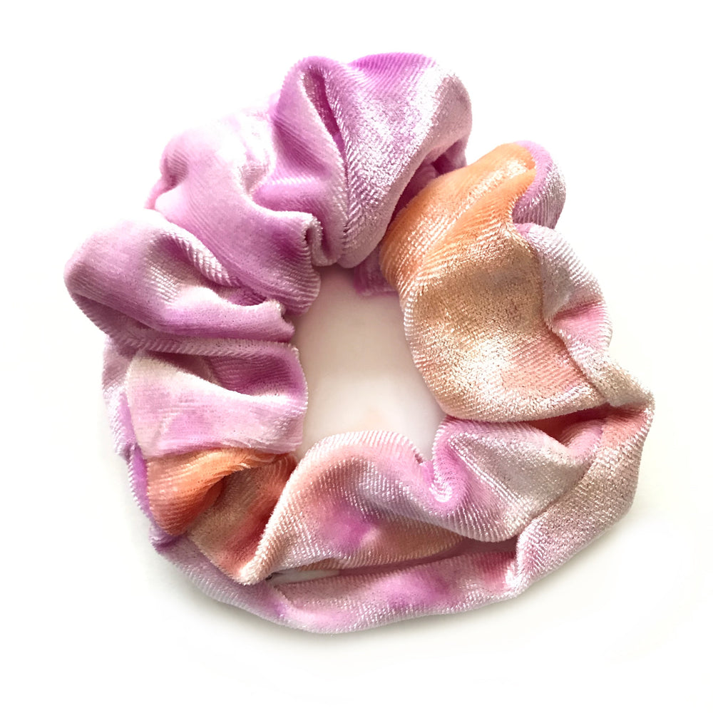 Pink/Orange Tie Dye Velvet - Secret Zipper Scrunchie