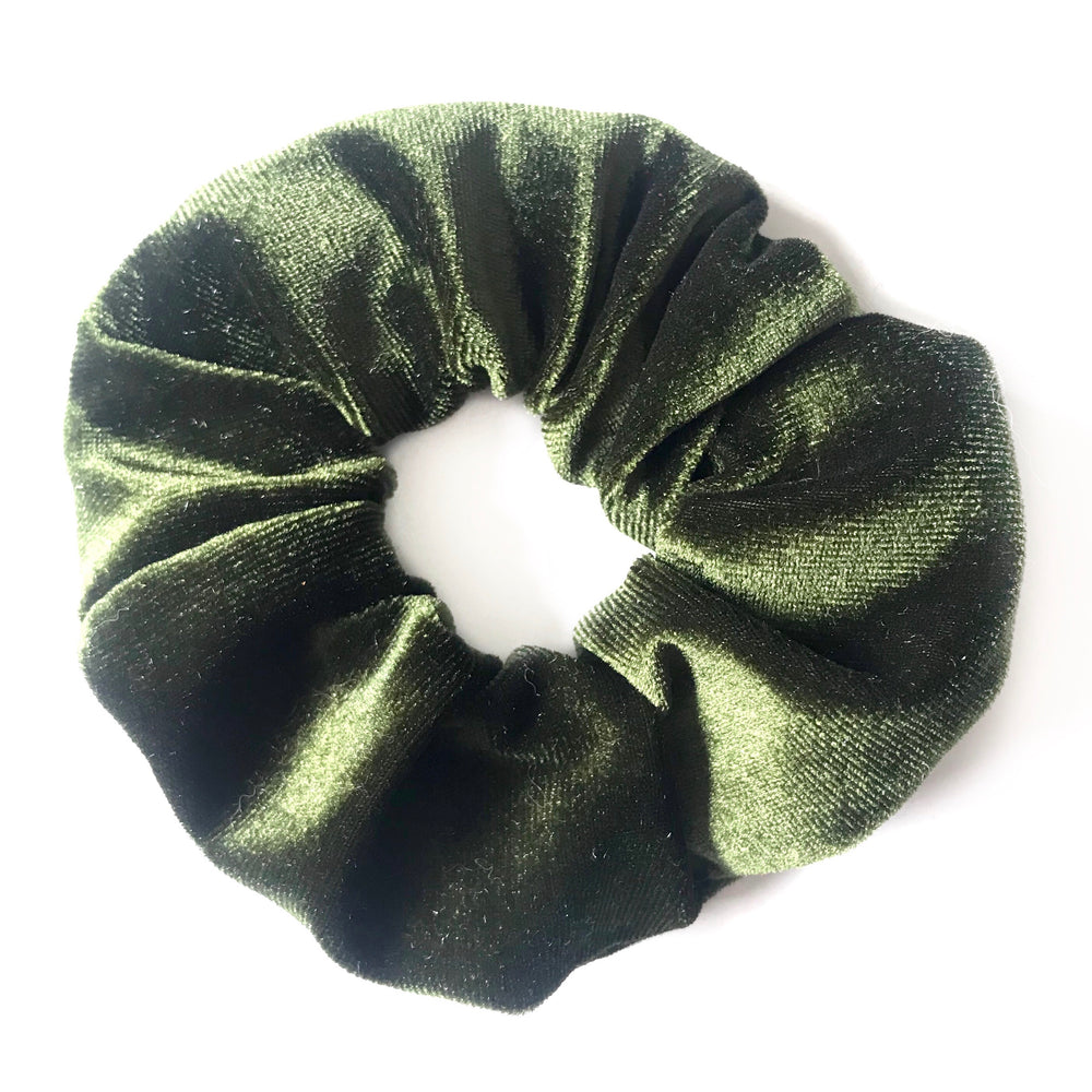 Forest Green Velvet - Secret Zipper Scrunchie