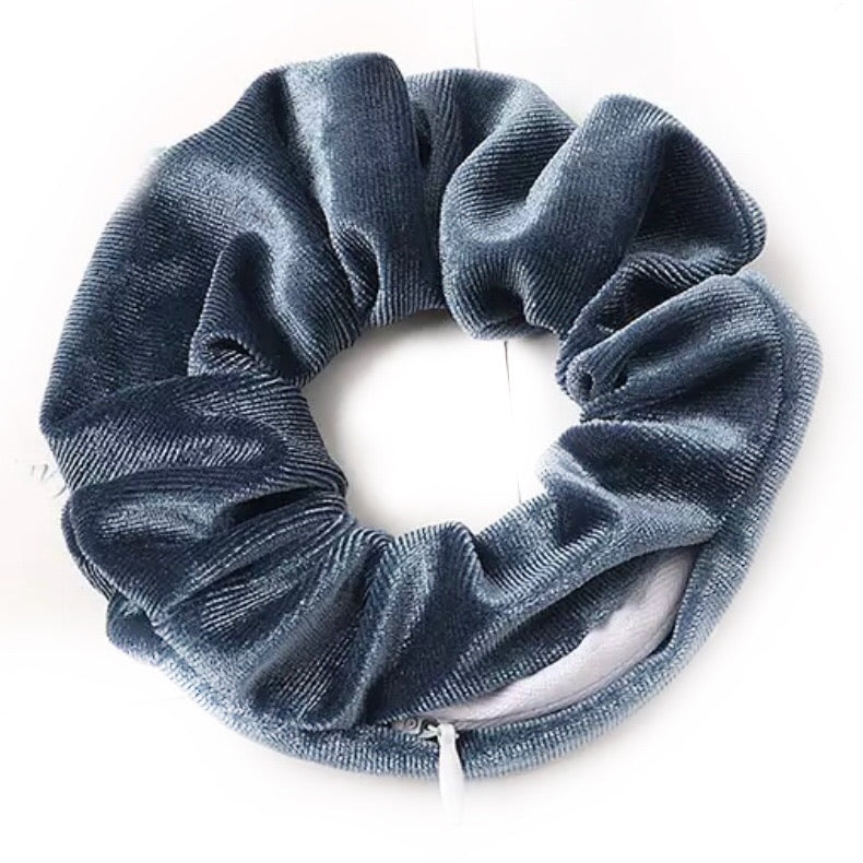 Dusk Blue Velvet - Secret Zipper Scrunchie