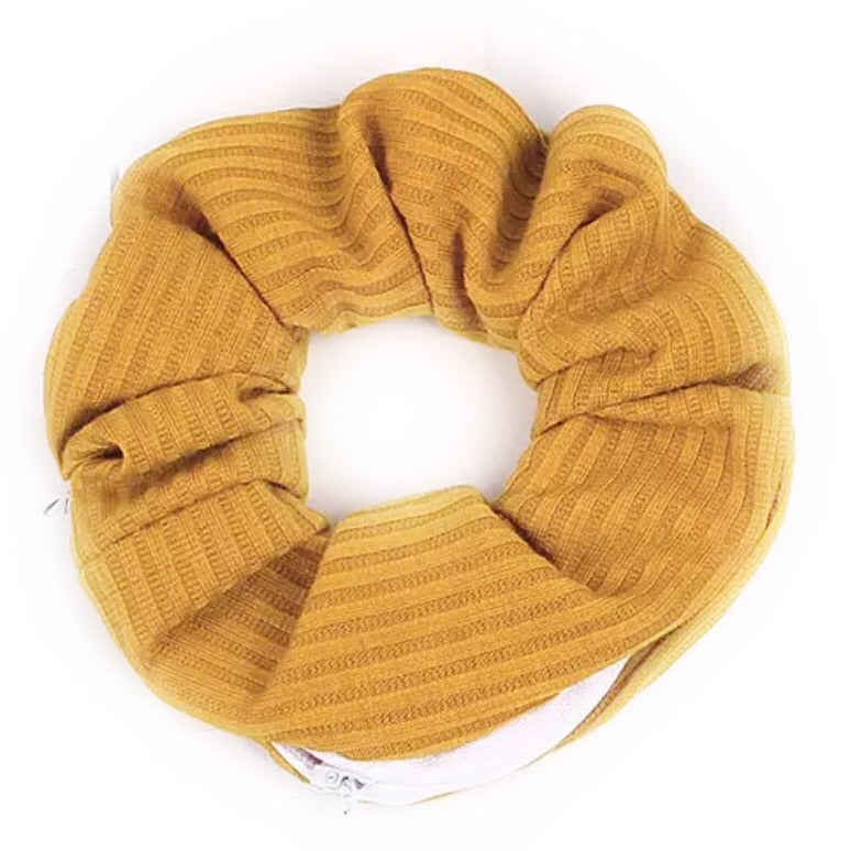 Golden Yellow Striped Cotton - Secret Zipper Scrunchie