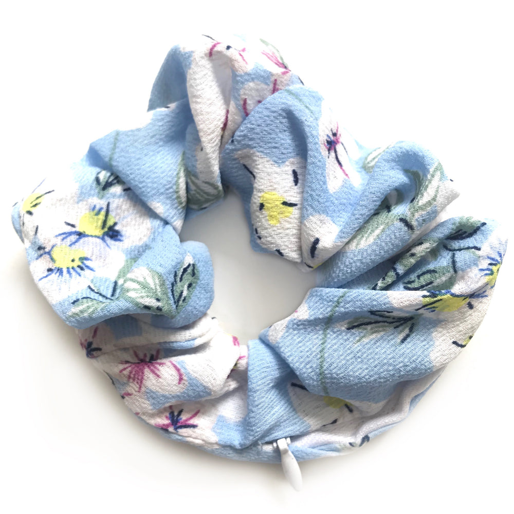 Blue Floral - Secret Zipper Scrunchie