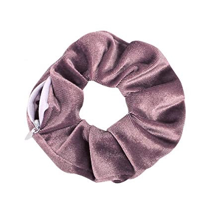 Lilac Purple Velvet - Secret Zipper Scrunchie