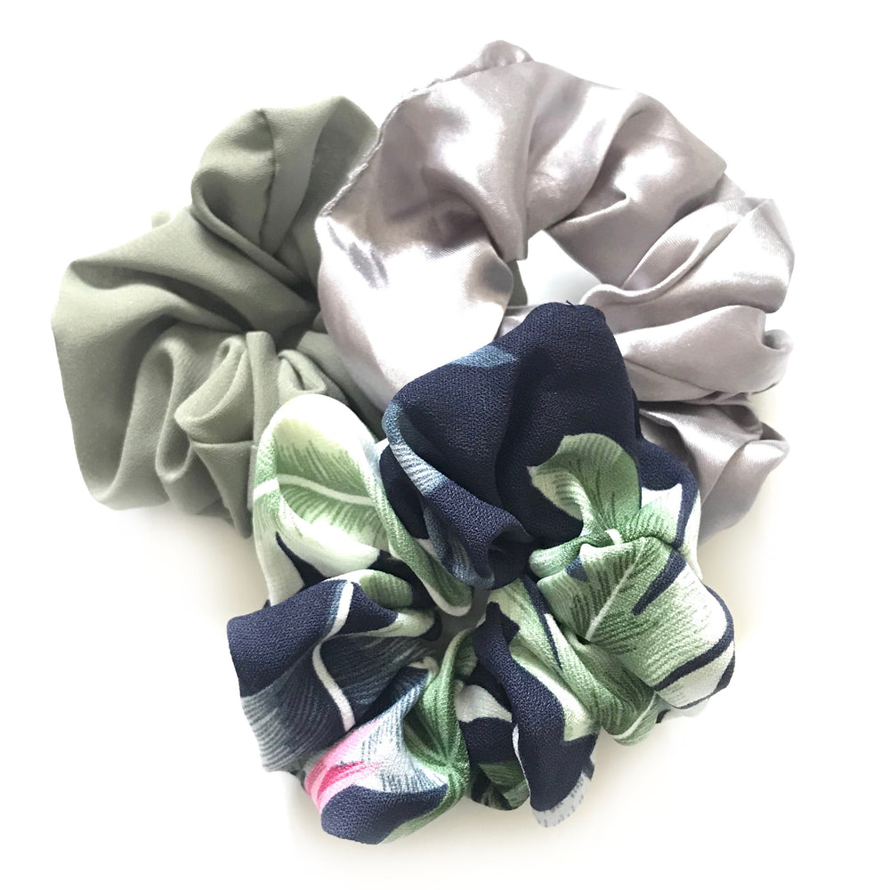 Floral Green - Scrunchie 3 Pack