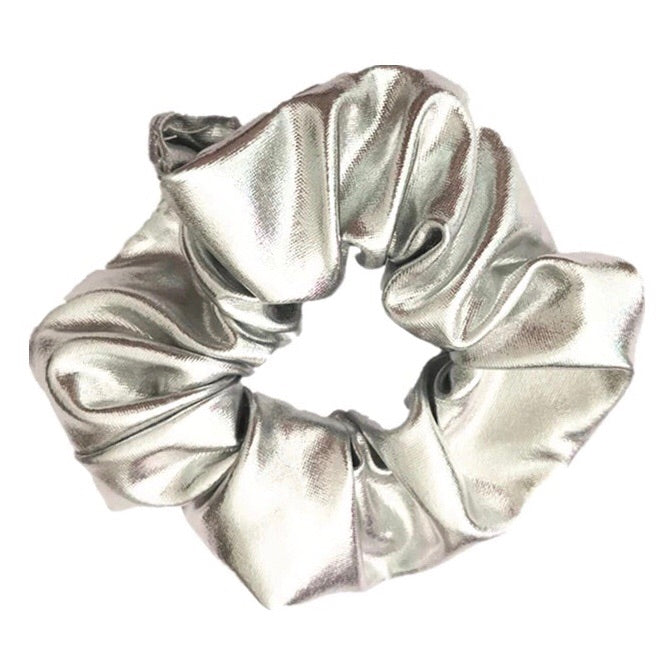Silver - Metallic Grey Leather Scrunchie