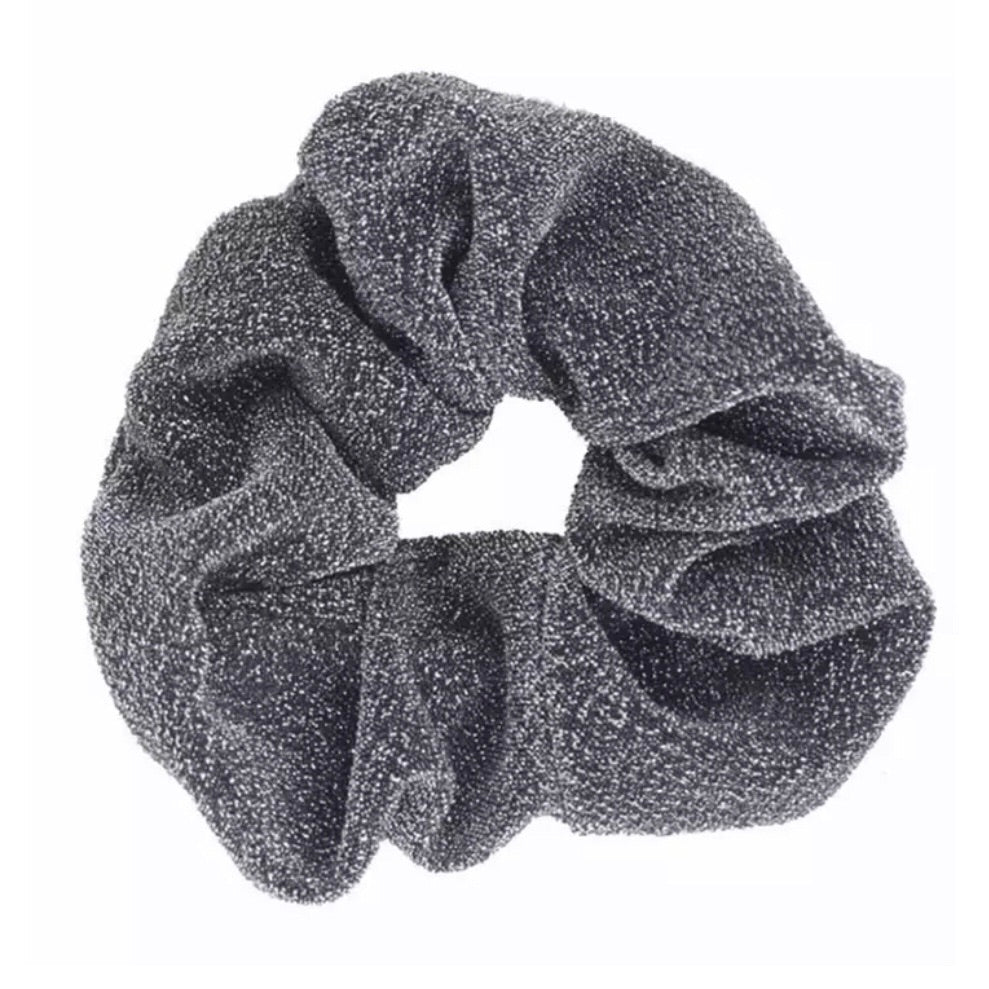 Gunmetal Grey - Glitter Scrunchie
