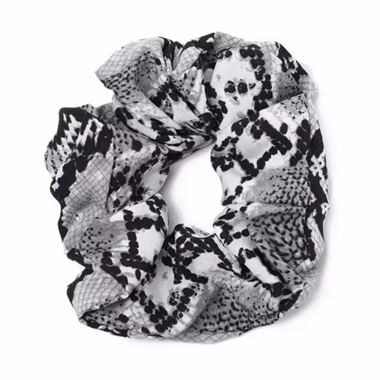Black Snakeskin - Animal Print Scrunchie