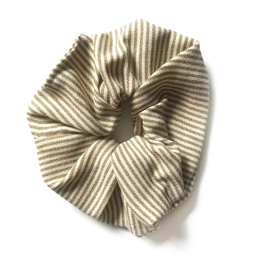 Khaki Striped - Linen Scrunchie
