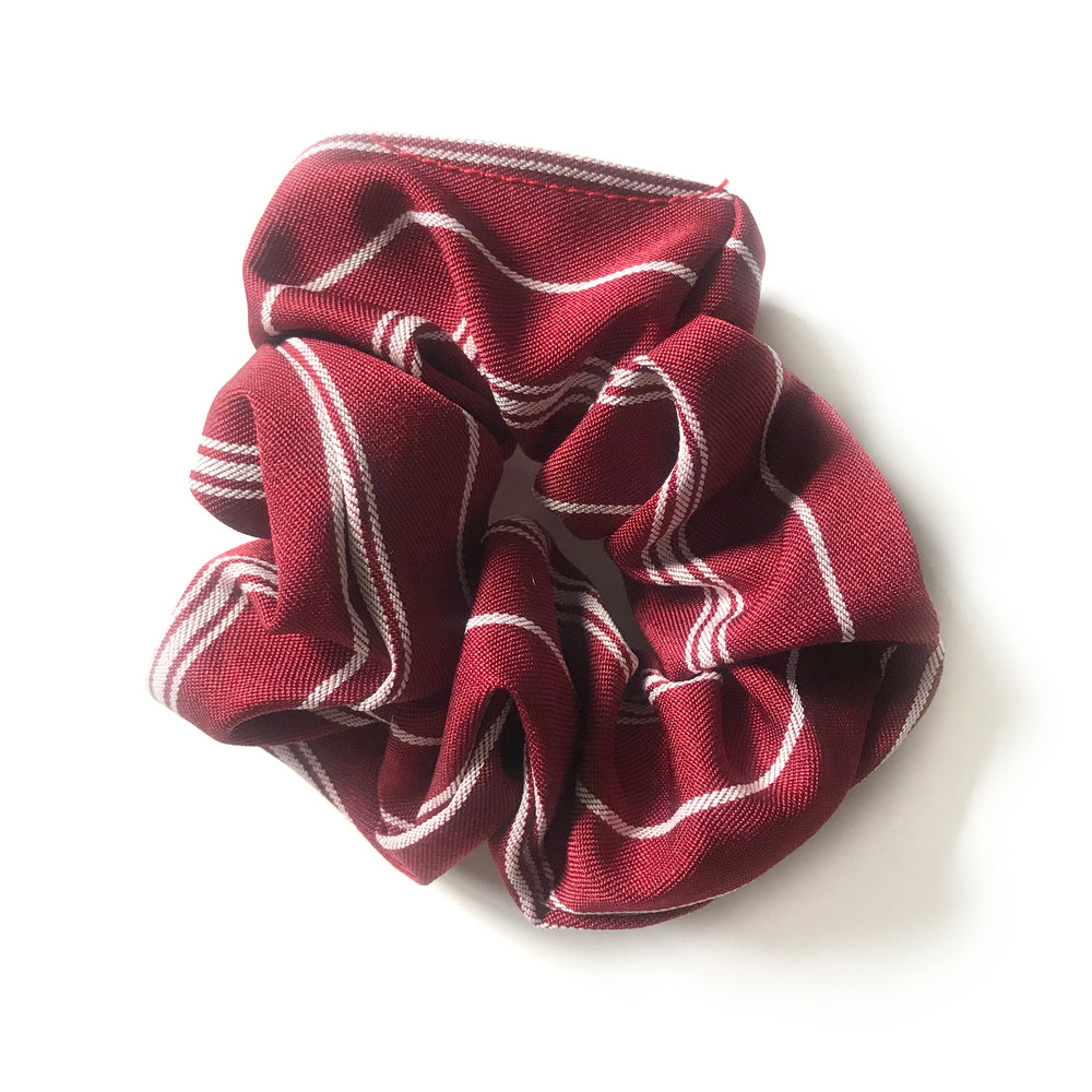 Red Striped - Linen Scrunchie