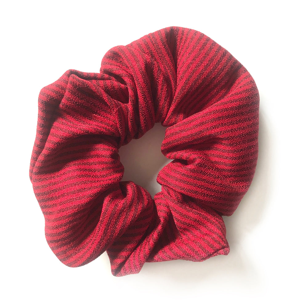 Red Double Striped - Linen Scrunchie