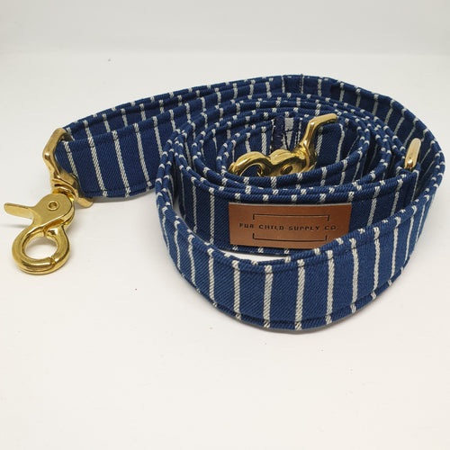 Amalfi Adjustable Dog Leash -  Navy Stripe