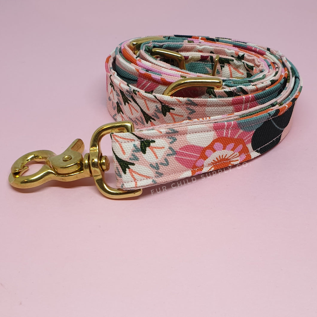 Sydney Adjustable Dog Leash - Pink Floral