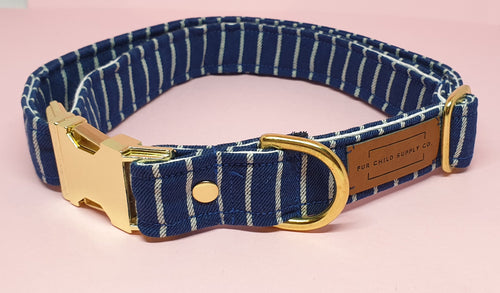 Amalfi Adjustable Collar  -  Navy Stripe