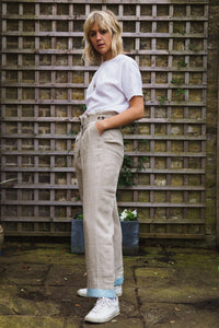 Gillian June Sustainable Linen Trousers - Natural, Wide Leg