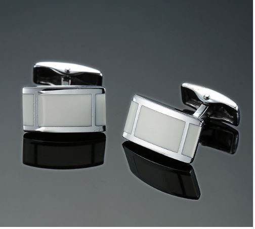 silver and cream insert cufflinks