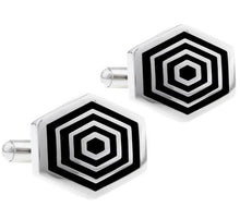 Load image into Gallery viewer, Silver and Black Hexagon Shaped Cufflinks - Crazy Cuffs