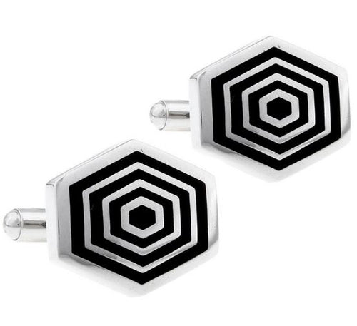 Silver and Black Hexagon Shaped Cufflinks - Crazy Cuffs