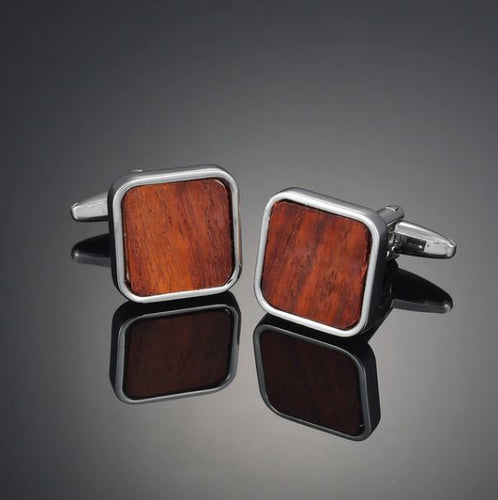 Silver and Wood Cufflinks - Crazy Cuffs