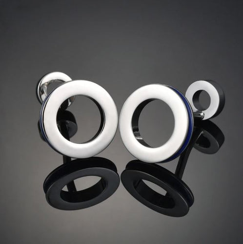 Stylish Round Silver and Blue Cufflinks - Crazy Cuffs