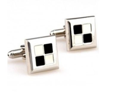 Silver, Black and White Cufflinks - Crazy Cuffs
