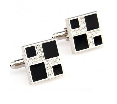 Black Cufflinks with CZ Stones - Crazy Cuffs