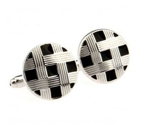 Silver and Black Cufflinks - Crazy Cuffs