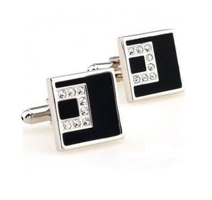 Silver and Black Square Cufflinks with CZ Stones - Crazy Cuffs