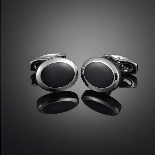 Stylish Silver and Black Cufflinks - Crazy Cuffs