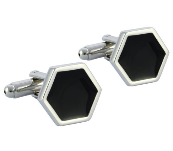 Hexagon Shaped Silver and Black Cufflinks - Crazy Cuffs