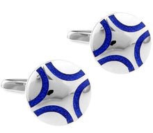 Load image into Gallery viewer, Silver and Blue Cufflinks - Crazy Cuffs