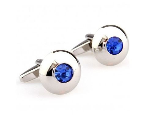 Gorgeous Silver and Blue Round Cufflinks - Crazy Cuffs