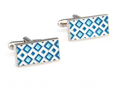 Classic Blue and White Cufflinks - Crazy Cuffs