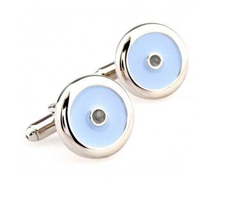 Stylish Silver and Sky Blue Cufflinks - Crazy Cuffs