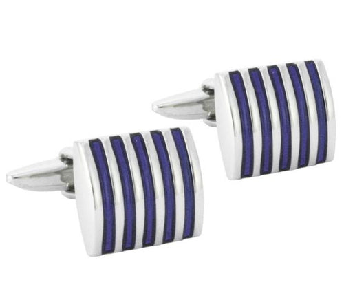 Silver and Blue Cufflinks - Crazy Cuffs