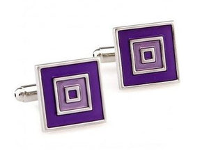 Silver and Purple Cufflinks - Crazy Cuffs