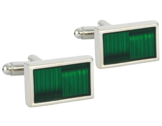 Stylish Silver and Green Cufflinks - Crazy Cuffs