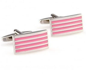 Trendy Silver and Pink Cufflinks - Crazy Cuffs