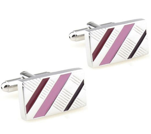 Stylish Silver and Pink Cufflinks - Crazy Cuffs