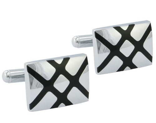 Classic Silver and Black Cufflinks - Crazy Cuffs