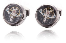 Load image into Gallery viewer, Antique Copper Plated Steampunk Round Watch Gear Cufflinks - Crazy Cuffs